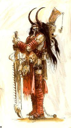 Warrior - Head hunter - Necromunda - Warhammer 40K - GW [by John Blanche]