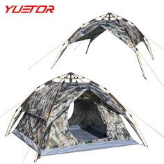 71.13$  Watch here - http://ali550.worldwells.pw/go.php?t=32761899182 - Brand YUETOR 200*230*140cm 3-4 people tent camouflage automatic double layer carpa plegable for camping hiking tents 71.13$