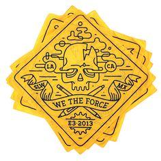 We The Force Studios Bandana by HeyTreka, via Behance Ui Design Inspiration, Typography Inspiration, Graphic Design Branding, Identity Design, Logo Line, 3 Logo, Apocalypse Aesthetic, Tattoo Style, Bandana Design