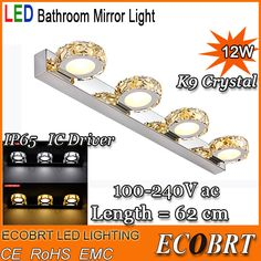 Find More Industrial Lighting Information about New Year Crystal Led Wall Lamp 12W 62cm Modern Bathroom Mirror Light  4 lights Round Surface Decoration Luminaire in Bathroom,High Quality lighted valentines day decorations,China light locker Suppliers, Che