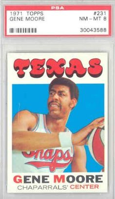 1971 Topps Basketball 231 Gene Moore Chaps PSA 8 Near-Mint to Mint by Topps. $18.00. This vintage card featuring Gene Moore is # 231 from the 1971 Topps Basketball set
