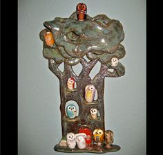 Owl Family Tree House Display Pottery Clay by calicoowls on Etsy, $36.00