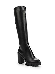 Lost Ink Gwen stretch pu cleated knee high boots Black - House of Fraser