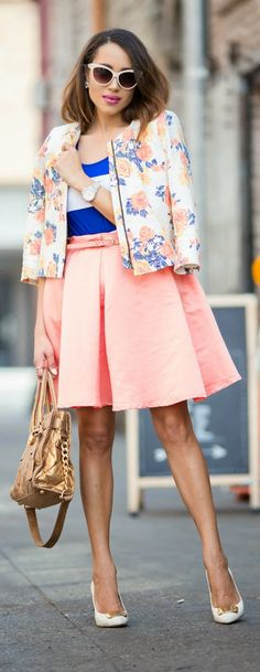 ORANGE YOU GLAD - Pleated Skirt with Floral Blazer and Golden Handbag / A Keene Sense of Style