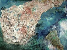 Collage Map Painting by Hannah Mae Barker on Etsy