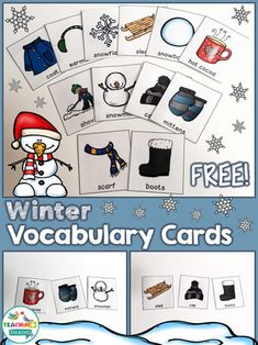 How To Circumvent IP Possession Concerns Every Time A Strategic Alliance, Three Way Partnership Or Collaboration Fails Winter Vocabulary Cards Freebie By Vocabulary Activities, Speech Therapy Activities, Language Activities, Teaching Vocabulary, Seasons Activities, Winter Activities, Preschool Winter, Winter Words, Vocabulary Cards