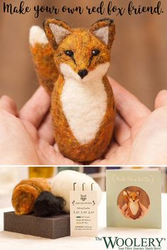 Learn the art of needle felting with this fun, step-by-step Needle Felted Red Fox kit! This kit has Needle Felted Animals, Needle Felting, Felt Animals, Wool Felting, Crafts For Kids, Arts And Crafts, Crafts To Make, Craft Projects, Sewing Projects