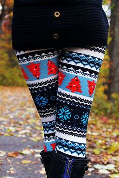 Amazing Red Pine Tree Patterned Tights with Shades of Blue, Christmas Tights Cute Christmas Outfits, Holiday Outfits, Christmas Holiday, Christmas Clothes, Christmas Sweaters, Winter Clothes, Christmas Stocking, Christmas Photos, Girl Outfits