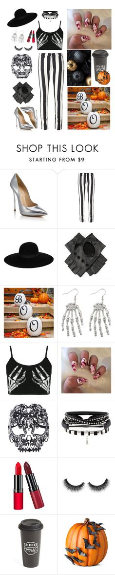 """""""Halloween set"""" by julielehenka ❤ liked on Polyvore featuring Casadei, Off-White, Maison Michel, Black, Improvements, Boohoo, Masquerade, Rimmel and The Created Co."""