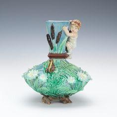 A Rare Victorian Majolica Vase, Hugo Lonitz ca. 1860