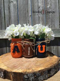 Auburn University Mason Jars, War Eagle, Auburn Dorm Decor, Auburn Tailgate Decor, Orange and Navy Mason Jars, Mason Jar Crafts, Auburn University, Auburn Football, Auburn Tigers, College Football, Auburn Game, Football Banquet, Ppr