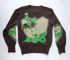 1940's St. George and the Dragon Wool Sweater by fifisfinds