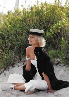 Women's Jumpsuit and Cape by Sonia Rykiel, Boater Hat by Chanel, White Oxfords by Esquivel via @glamourmag #white #white_is_right_now #Women's_jumpsuits #rompers #cape #boater_hat #oxford_flats #SS2015 #Chanel #Sonia_Rykiel #Esquivel