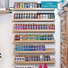 Find out how to use vertical acrylic paint storage to keep paints organized and visible in craft rooms with limited counter space. Rock Painting Supplies, Rock Painting Ideas Easy, Acrylic Paint Storage, Paint Organization, Vertical Storage, Pantry Storage, Painted Rocks, Paint Markers, Cool Paintings