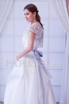 vestidos de novia Elegante Romántico Blanco Hasta Suelo Corto Corte A satén Organza