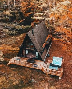 A-shaped cabin (A frame also known as chalet) built in wood. - A-shaped cabin (A frame also known as a chalet) built in wood in the Vermont state region of … - Tiny House Cabin, Tiny House Design, Cabin Homes, My House, A Frame House Plans, A Frame Cabin, A Frame Homes, Cabins In The Woods, House In The Woods