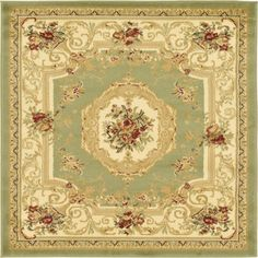 Traditional Versailles Green 4 ft. x 4 ft. Area Rug