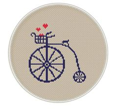 Bicycle Сross stitch pattern, Instant Download, Free shipping, Cross-Stitch PDF, Vintage, Valentine's Day, Heart , MCS040