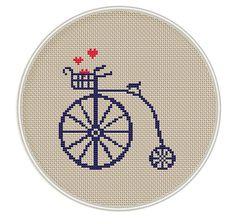Modelo de la puntada? Ross bicicletas, Descarga instantánea, envío libre, punto de cruz PDF, vintage, día de San Valentín, corazón, MCS040