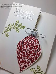2015-2016 Stampin' Up Holiday Catalog - Playing with some of my pre-order goodies....I created this Christmas Card using the new Embellished Ornaments Stamp Set along with the coordinating Delicate Ornament Thinlits Dies. This card turned out wonderfully! If you need a Stampin' Up Demo or would be interested in learning more, please contact me by visiting my blog craftingbuddy.blogspot.com Happy Stampin'!