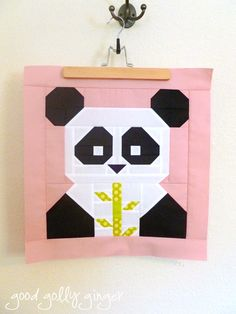 Panda-Monium Free Mini Quilt Pattern - Ally would LOVE this. Small Quilts, Mini Quilts, Baby Quilts, Scrappy Quilts, Mini Quilt Patterns, Paper Piecing Patterns, Quilting Projects, Sewing Projects, Quilting Ideas