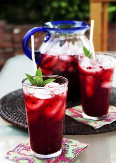 Blackberry Mint Lemonade   3 cups water  1 cup sugar  18 mint leaves, torn  2 cups frozen/fresh blackberries  ice  3 mint sprigs  4 cups natural store-bought lemonade  mint sprigs  (Directions on how to make this drink on actual site)