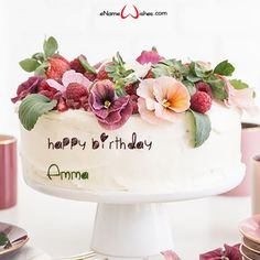 Flower Birthday Cake with Name - eNameWishes Online Birthday Cake, Birthday Wishes Cake, Birthday Cake With Flowers, Birthday Cake Pictures, Happy Birthday Cakes, Happy Birthday Banners, Flower Birthday, Birthday Wishes With Name, Happy Birthday Messages