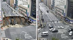 This combination of two photos shows a Nov. 8, 2016, file photo, left, of a sinkhole on a road, and the road after restoration, in Fukuoka, southern Japan Tuesday, Nov. 15, 2016.