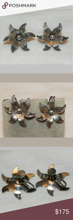"""*RARE* Vintage Beaucraft Sterling Flower Earrings This company is one of the major U.S. manufacturers of silver jewelry. Established in 1946, after WWII in Providence, R.I. The company operated until 2007 when it was bought out by Amsco Ltd. Much of the Beaucraft silver jewelry dates from the 1950s and 1960s. Pieces are signed with the letter """"B"""", """"Beau"""", or """"Beaucraft"""". This one is marked """"Beau Sterling"""". Such a unique find! Each are 1 inch with screwbacks. Vintage Jewelry Earrings"""