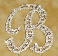 Crystal Cake Initial - Vintage Style - Monogram & Ideas for Personalized Wedding Cake Toppers