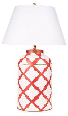 One Kings Lane - Presidents' Day Deals - Moda Tea Caddy Lamp, Orange