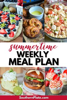 The best Summertime Weekly Meal Plan to help you put delicious and easy-to-make meals on the table for the family. Filled with recipe ideas for dinner, lunch, breakfast, and of course summer dessert too. Blueberry Jam Recipe Without Pectin, Easy Weeknight Meals, Easy Meals, Summer Recipes, New Recipes, Macro Meal Plan, Banana Bread French Toast, Easy Meal Plans, Macro Meals