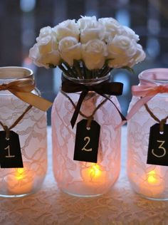 things brides love Mason Jar wedding reception decor centerpieces lace with chalkboard tags/ Well-Wishes