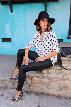 polka dots shirt with skinny pants