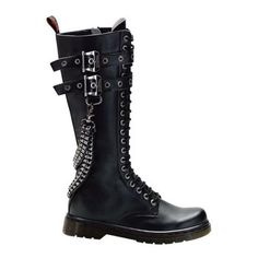 Pleaser- Eyelet Knee Combat Boots With Brass Knuckles-Chain Shoes/Boots  Black Pu