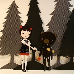 Black Forest Picnic paper doll set with 10 silver brads $12