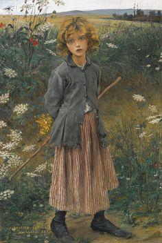 Jules Bastien-Lepage - Young Girl (November 1848 – December was a French painter closely associated with the beginning of naturalism Albert Bierstadt, Alphonse Mucha, Edward Moran, Almeida Junior, Edouard Manet, Portraits, Portrait Paintings, Bastille, French Artists
