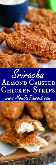 These Sriracha Almond Crusted Chicken Strips are the perfect recipe to spice things up for dinner tonight! Easy and so delicious, the whole family will love this healthy take on a family favorite! Perfect for game day appetizers too!