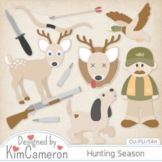 Hunting Season Layered PSD Templates by Kim Cameron ; Commercial Use for Digital Scrapbooking, #CUDigitals