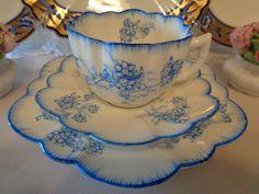 Antique China Trio By Grafton, England - Blue & White Floral