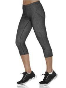 If you're plus-sized:   Look up to several sizes smaller.    Go for sleek and fitted pants like the Reebok on the Move Capri pants ($45; Reebok.com), rather than something bigger, which would only add volume. With enough suck-you-in spandex, this fabric provides the support you crave. Ruching up the calves attracts attention away from the thighs, helping slim the whole leg.