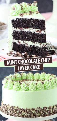 banking ideas This Mint Chocolate Chip Layer Cake is such a fun flavor combination! Made with my favorite chocolate cake as the base then topped with homemade mint frosting! A chocolate-mint lovers dream dessert! Menta Chocolate, Mint Chocolate Chips, Chocolate Chip Cake, Baking Recipes, Dessert Recipes, Dessert Food, Cheesecake Recipes, Mint Frosting, Mint Cake