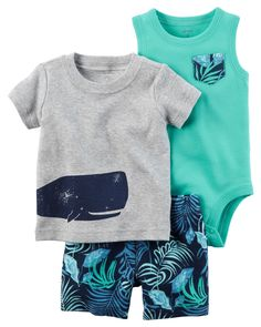 Complete with super cool screen prints and coordinating shorts, this soft 3-piece set is perfect for spring.