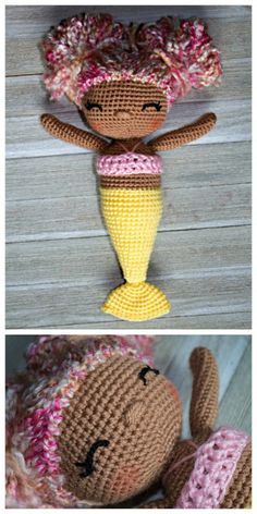 The Friendly Mermaid Crochet Doll- I just love her hair and embroidered eyes!