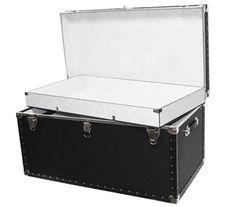 Black oversized large trunk, dorm room storage ideas, black storage trunk for dorm