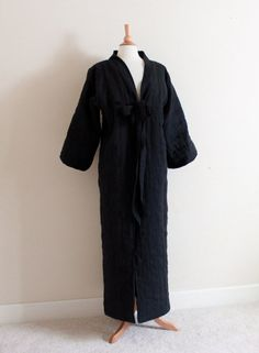 One of the kind geisha tea party wool padded linen long coat by annyschooecoclothing on Etsy,