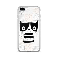 Cute cat phone case iPhone 7, Pet phone case unique for iPhone 7 Plus, Kawaii phone case kitten animal for girls, Gift for cat lover, black