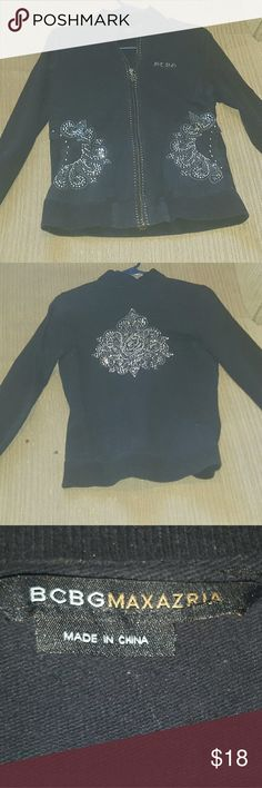 Bcbg zip up studded sweater Used black studded sweater. Good condition BCBGMaxAzria Tops Sweatshirts & Hoodies