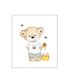 Teddy Bear with Honey and bees Nursery Print, Children Wall Decor, Kids Wall Art, Baby Room Wall Art, Animal Ilustration, Children Art Print by SweetBabyArt on Etsy