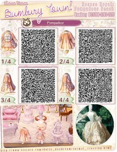 Animal Crossing New Leaf QR code! Bumbury Town's Rococo Royal: Pompadour Peach
